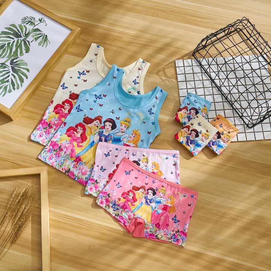 3set summer Children girl snow white   Pajama     Sets   Casual girl Bamboo fiber vest + short Pants 5color randomly TZ07