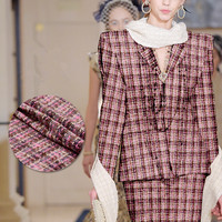 Limited hot sale 2017 new fashion weaving yarn dyed tweed wool viscose fabric for coat dress tissu au meter bright cloth DIY