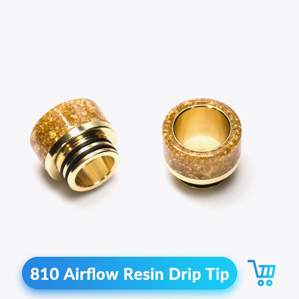 Quartz Banger 1pc/lot Drip Tip 810 Resin Golden Adjustable Airflow For RDA RTA Vaporizador Atomizer Vape Accessories Mouthpiece