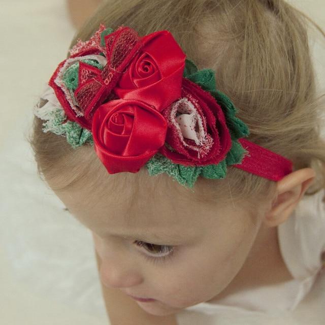 fef2347a8a4fd 24 stücke Shabby Blume stirnband Weihnachts Haar-accessoires Boutique  blumenhaarbänder Regenbogen Blume stirnbänder 11 Farbe