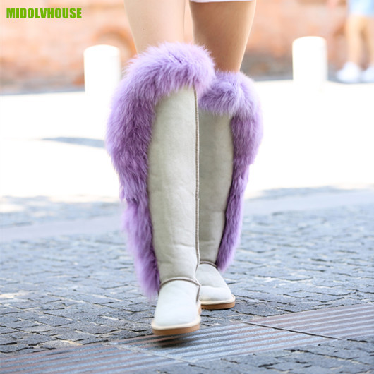 Midolvhouse women's fashion snow boots winter real fox fur and Genuine leather over the knee Thigh high boots shoes flat