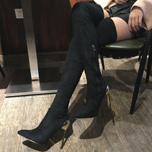 Fashion Star Autumn Winter Women Sexy Black Boots Over The Knee Long Boots Pointed Toe Metal Heels Shoes Elastic Stretch Boots fedonas top fashion women winter over knee long boots women sper thin high heels autumn comfort stretch height boots shoes woman