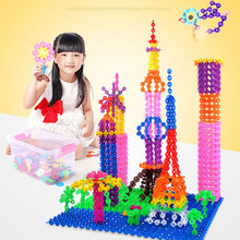 400st Montessori Educational Building Toy Kid Diy Gåva 3D Pussel Jigsaw Plast Barn Snowflake Blocks Modell Creative Brick