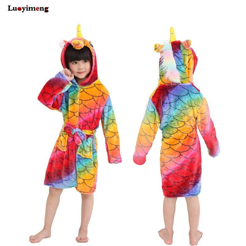 Cartoon Baby Bathrobe For Girls Pajamas Kids Rainbow Unicorn Animal Hooded  Beach Towel Boys Bath Robe. sku  32919614011 90c40a3d7