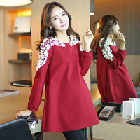 2018 Cutout Lace O Neck Maternity Shirts Elegant Plus Size Long Sleeve Autumn Clothes For Pregnant Women Red Womens Clothing