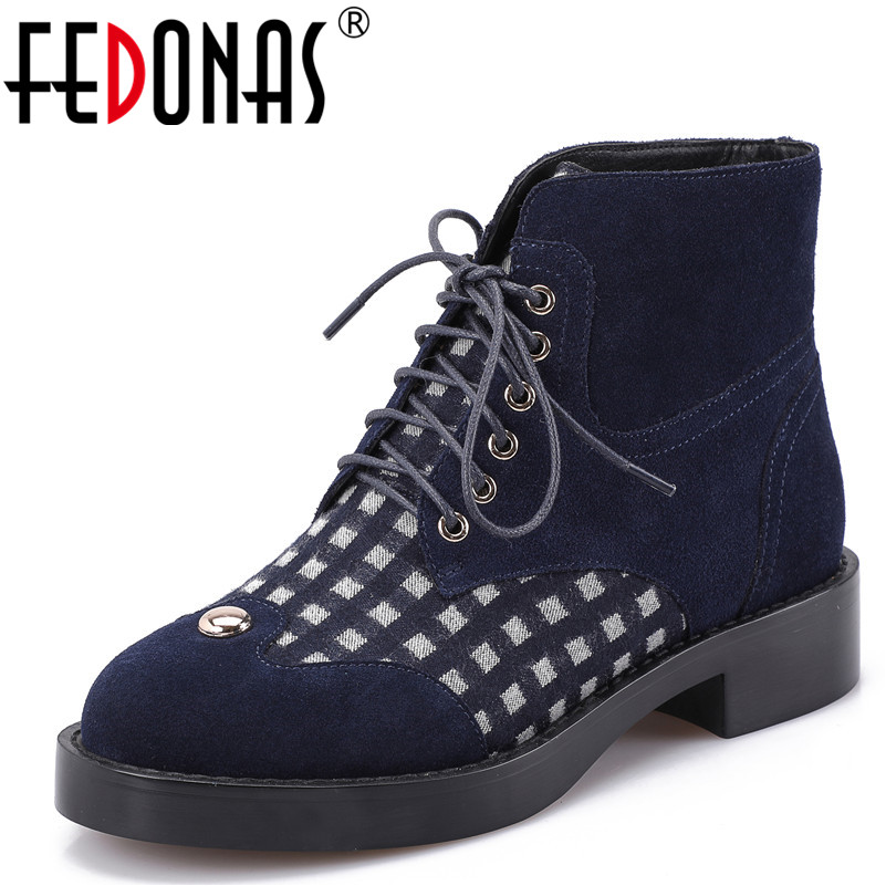 FEDONAS 1New Arrival Women Ankle Boots Cow Leather Autumn Winter Warm Square Heels Shoes Woman Round Toe Cross-tied Martin Boots fedonas 1fashion women ankle boots autumn winter warm high heels shoes woman round toe cross tied genuine leather martin boots