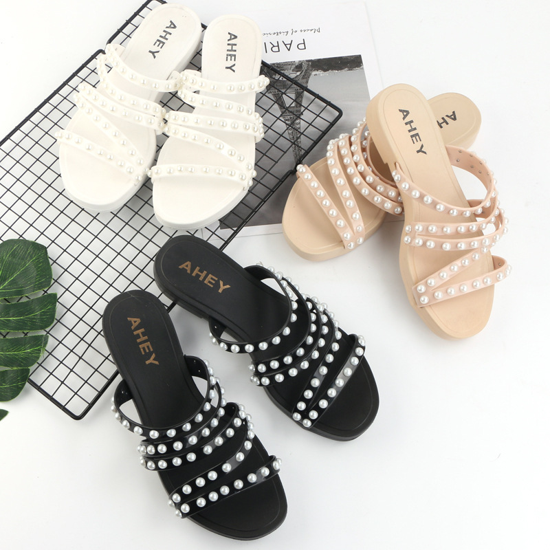 2019 summer multi-color pearl sandals and slippers women's fashion trend women's sandals and slippers beach outdoor sandals(China)
