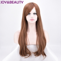 JOY BEAUTY Long Body Wave Synthetic Hair Wig High Temperature Fiber Light Brown Color 24inch For
