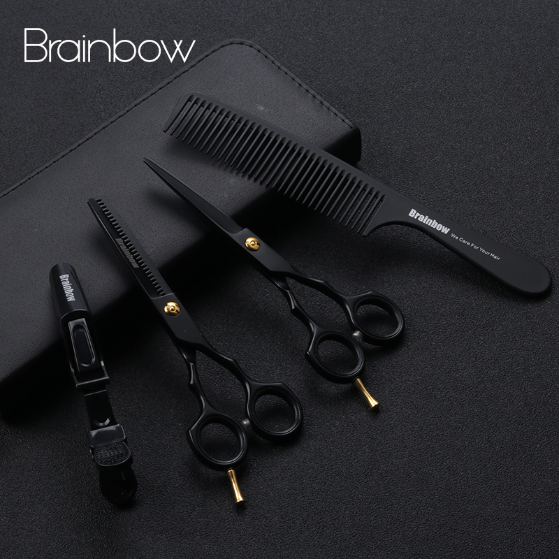 Brainbow 5.5' Professional Black Japan Hair Scissors Cutting Thinning Hairdressing Barber Scissors Salon Haircut Styling Tools