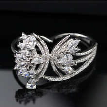 Hot Style 925 Sterling Silver Butterfly Double Finger Ring For Women Sterling Silver Jewelry Free Ship