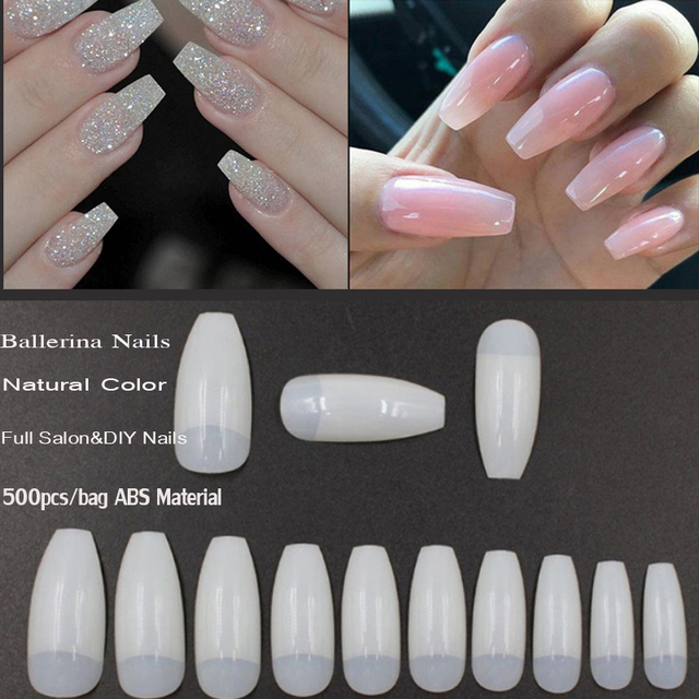 Coffin Nails 500pcs Half Cover Acrylic False Nail Tips Ballerina 10 Sizes For Salons