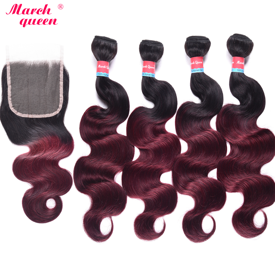 March Queen Ombre Peruvian Human Hair 4 Bundles With Closure T1B/99J Body Wave Hair Extensions Black To Red Wine Color Hair Weft