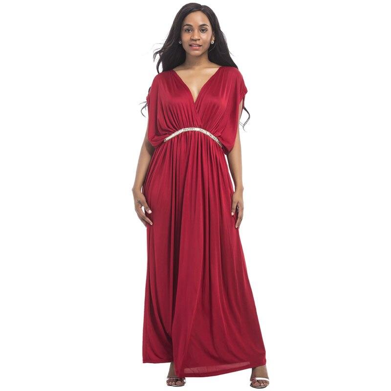 Вечернее платье для беременных, Одежда для беременных, Длинное свободное платье с v-образным вырезом и бриллиантовым поясом, платье для бере...