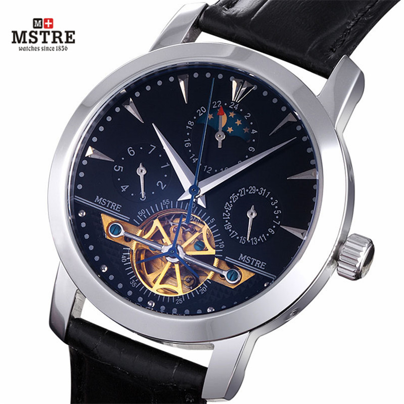 Brand Deluxe Men's Dressed Business Watch Self-wind Auto Mechanical Tourbillon Moon Phase Genuine Leather Band Analog Wristwatch golden goose deluxe brand повседневные брюки