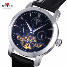 Brand Deluxe Men's Dressed Business Watch Self-wind Auto Mechanical Tourbillon Moon Phase Genuine Leather Band Analog Wristwatch