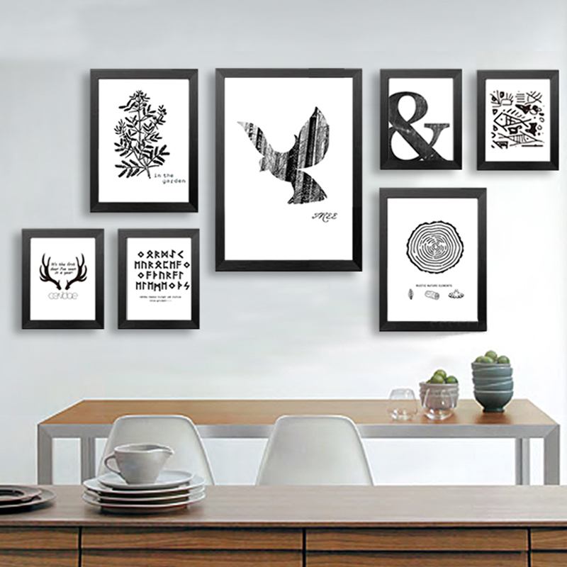GY31 Animal Pattern Canvas Art Wall Posters Modern Black and white ...