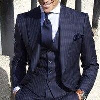 2018 Mens Suits with Pants Stripe Men's Blazer Slim Fit Wedding Male Groom Tuxedos suit Prom (Jacket+Pants+Vest) costume homme