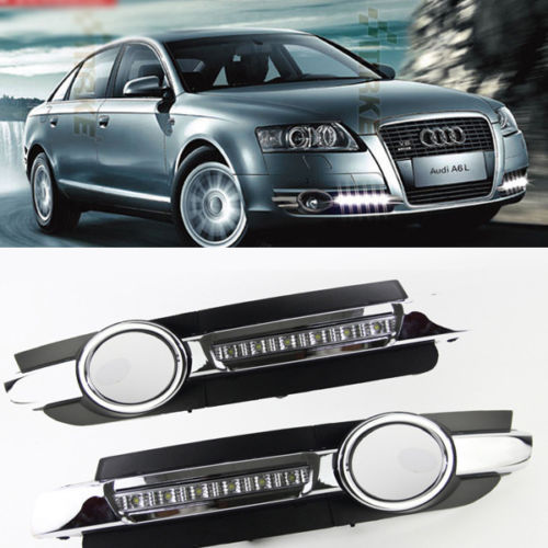 Free Shipping 2x Led Chrome Daytime Running Fog Lights Lamp Drl Grill For Audi A6 C6 2005 2008