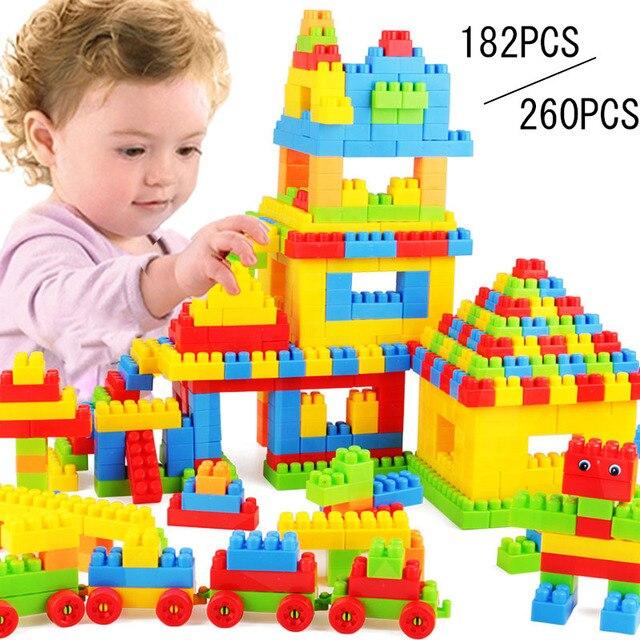 2e1e3158b Kid Blocks Toy Gift Assembled Bricks DIY Model Building Blocks Kits Educational  Toys Kids Birthday Gifts 182 Pcs  260 Pcs YH-17