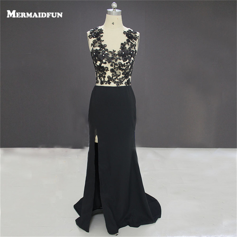 2017 New Images Mermaid Sheer O Neck High Slit Black Lace Appliques Evening Dresses Long Evening Gown