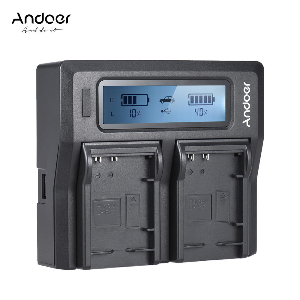 Andoer LP-E17 Dual Channel Digital Camera Battery Charger w/ LCD Display for Canon 750D 760D Rebel T6i T6s EOS M3/M5/M6/800D/77D