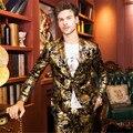 Ouro Homens Blazer Floral Casuais Blazers Magros 2016 Novo Partido Da Forma de Chegada Único Breasted Homens Paletó Plus Size M-4XL