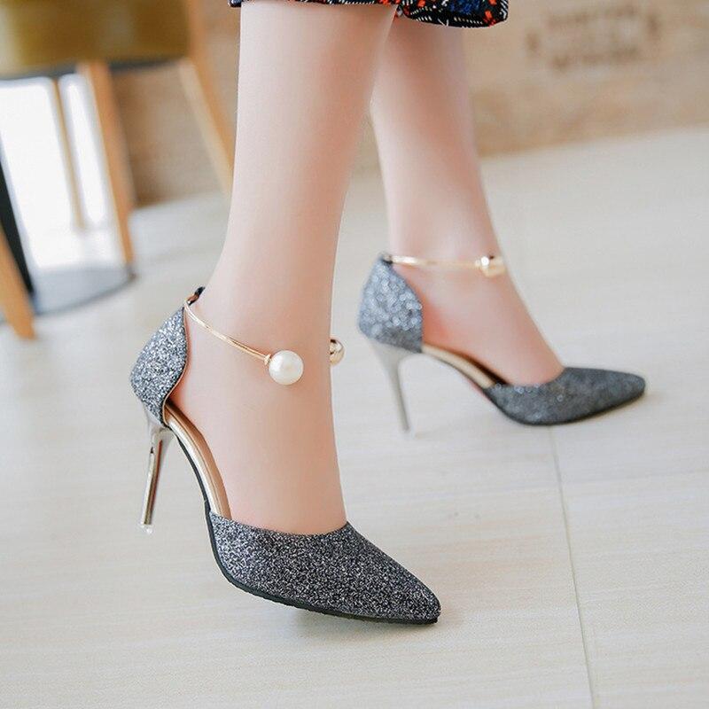 Пикантная женская обувь высоком 9 см Лето 2017 г. туфли на высоком каблуке  модные туфли с закрытым носком женские Обувь нормальный размеры 34–40  Chaussure ... 0937eb08b4d