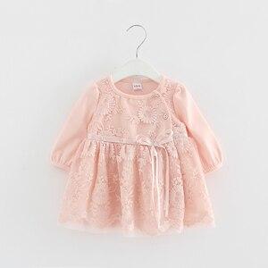 Image 2 - Koronkowy haft perły dziewczynek sukienka dziewczynka ubrania sukienki dla dzieci dzieci odzież suknia vestidos 0 2 lat 3 kolor