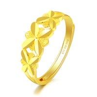 Новое однотонное 24 K кольцо из желтого золота женское кольцо 999 Золото Бабочка цветок