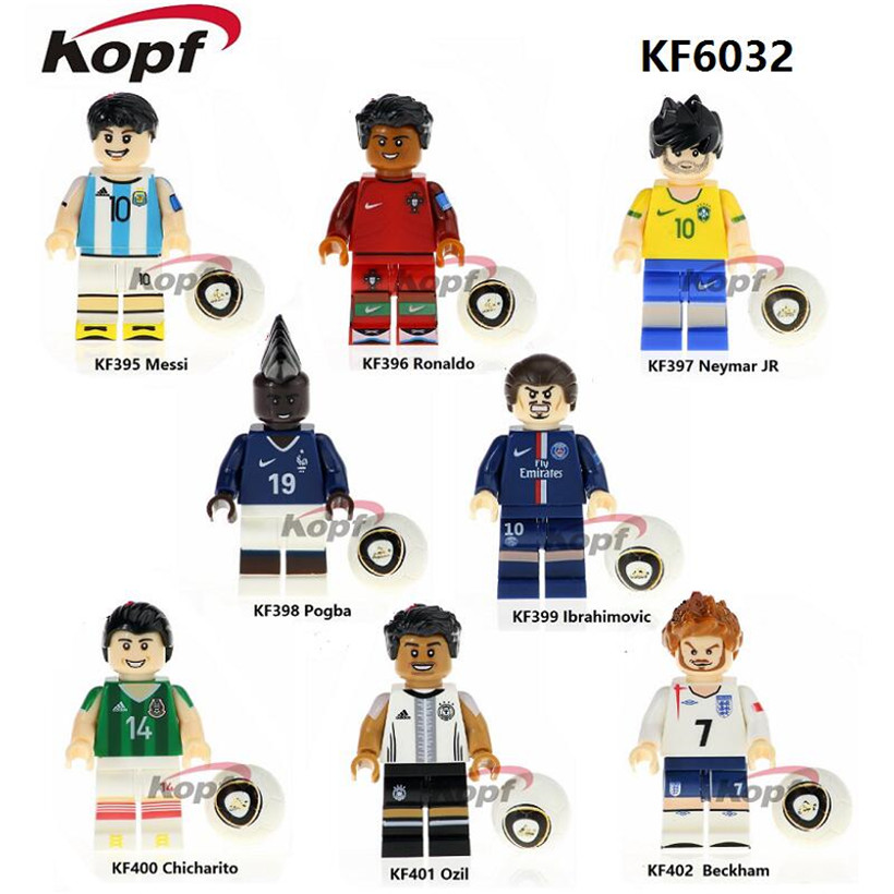Building Blocks Super Heroes Football Team Pogba Ronaldo Messi Ibrahimovic Beckham Bricks Collection Toys for children KF6032 building blocks super heroes back to the future doc brown and marty mcfly with skateboard wolverine toys for children gift kf197