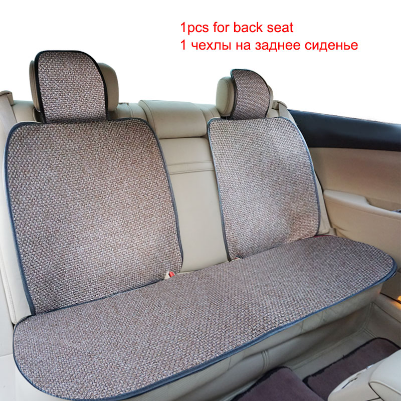 3Pc The back Car Seat Cover Material Flax Fabrics Colors Red Gray Blue Purple Brown Universal