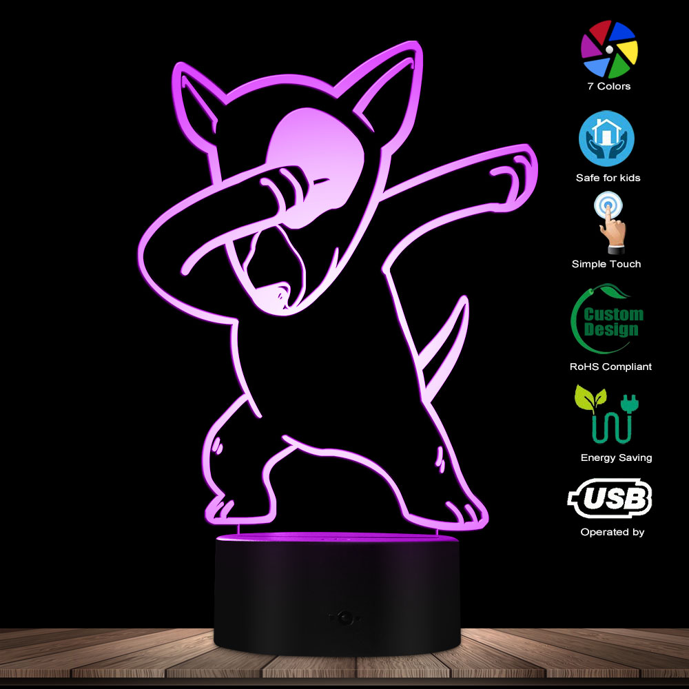 Dabbing Bull Terrier Lighting 3D Optical Illusion Light USB Night Lamp DAB Dog Animal Glowing LED Light Home Decor Table Lamp