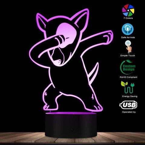 dabbing bull terrier iluminacao 3d ilusao optica luz usb lampada noite dab cao animal incandescente
