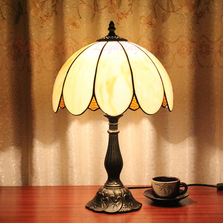 Tiffany Style Stained Glass Table Lamp Lustre Handmade Lampshade Antique Bedroom Bedside Writing Office Light Fixtures - Broadway Lighting store