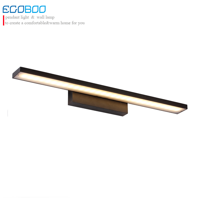 EGOBOO 12w modern black Aluminum 60cm long LED bathroom mirror light decorate indoor wall mounted lamp modern minimalist waterproof antifog aluminum acryl long led mirror light for bathroom cabinet aisle wall lamp 35 48 61cm 1134