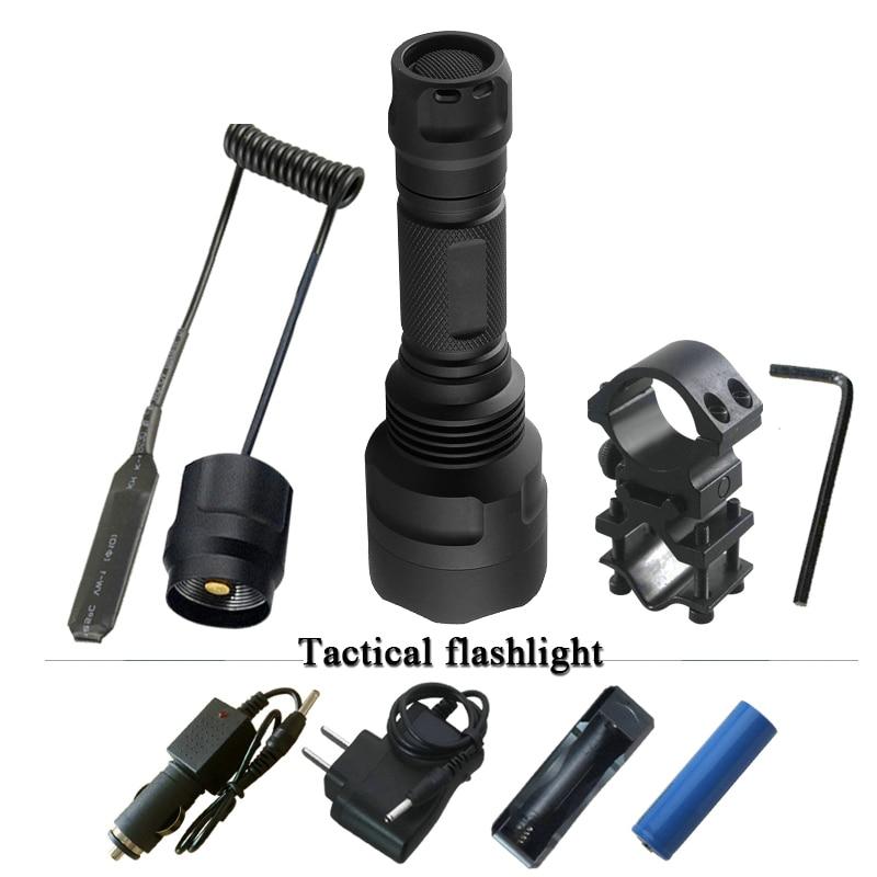 Tactique lampe de poche Portable Éclairage spotlight chasse led torche cree xm l2 xml t6 étanche auto-défense lampe de poche led 18650