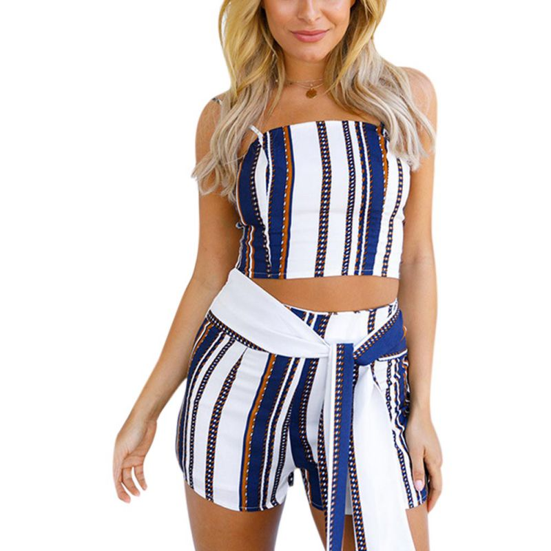 New 2020 Summer Style Sexy Ladies Color Stripe Backless Vest Printed 2 Piece Suit Women Sleeveless Strapless Coordinates W1