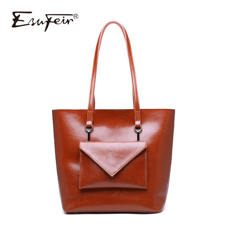 цена ESUFEIR Oil Wax Leather Women's Handbag Fashion Shoulder Bag Messenger Bag Large-capacity Bucket Bag Luxury Brand Composite Bag