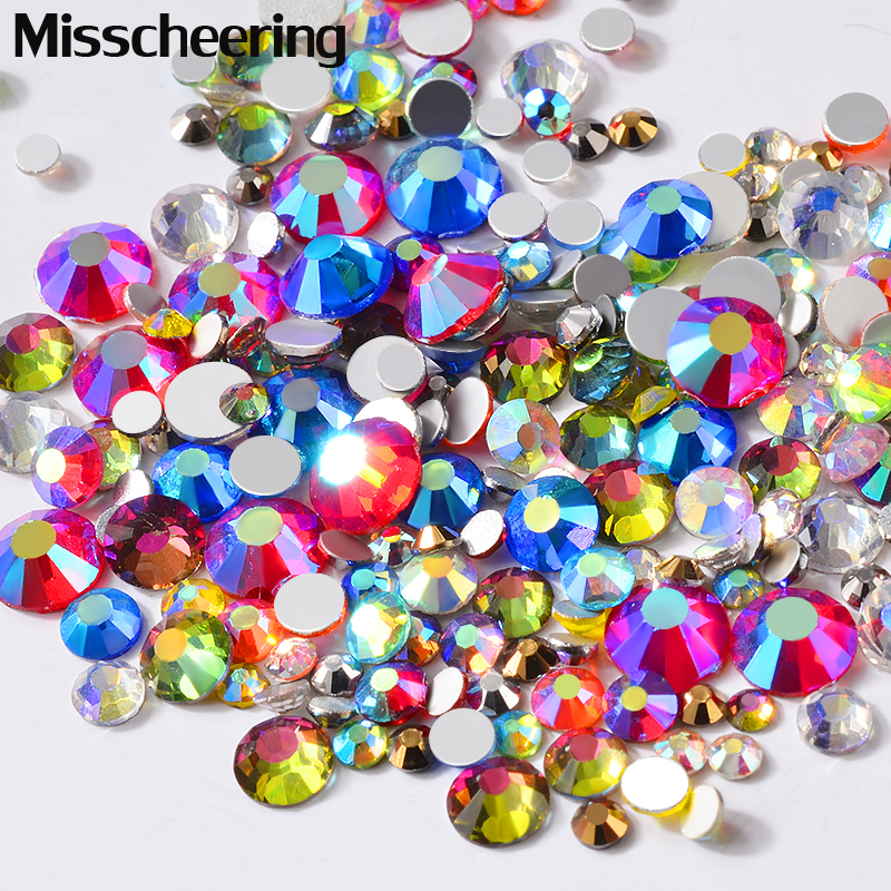 1Pack AB Colorful Crystal Nail Rhinestones Mixed SS6-SS20 FlatBack Glass Gems 3d Glitter Jewelry Decorations For Nails DIY Tools glass gems crystal rhinestones for nails ss3 ss30 and mixed light rose ab strass nail art jewelry design glitter decoration