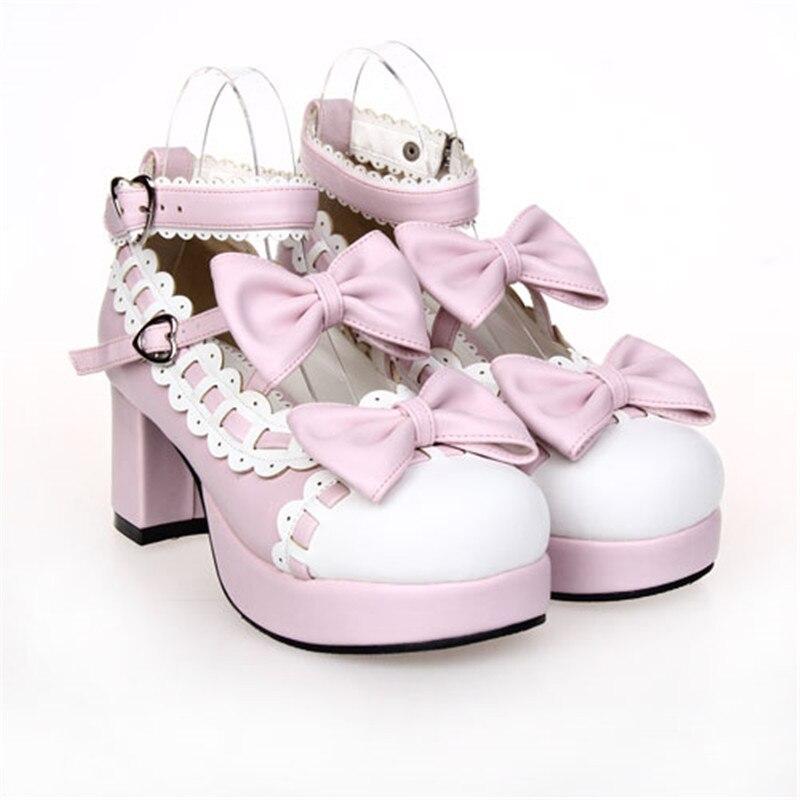 5 Prinzessin Schwarzweiss pumpt Ferse SchwarzesGewohnheitRosa Mary Party Girls Cm Jane Tea Lolita Schuhe 6 bvfgy6Y7