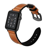 for Apple Women Men Silicone and Leather Replacement Sports Wristbands with Secure Metal Clasp Buckle for iWatch Series 3 2 1