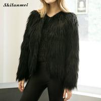 2016 Winter Thick Warm Women Fur Coat Black Long Hair Outerwear Female Jacket Long Sleeve Faux Fur Coat Plus Size 3XL Ostrich
