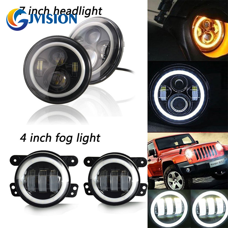 7 inch Daymaker LED headlights for Jeep Wrangler JK TJ LJ White DRL/Amber turn signal + 4'' led fog lights with Halo angel eyes 7 inch 120w 9000 lumen hi lo beam led headlights with half top halo ring angel eyes drl turn signal for jeep wrangler jk tj lj