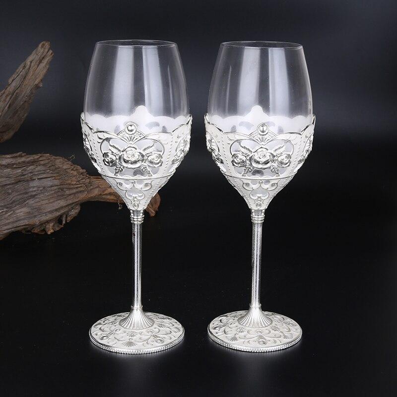 Haute qualité sans Plomb cristal verre à vin rouge en verre 2 pièces gobelets Tasse de vin Ensemble De Cadeau De Mariage de Partie de Barre Famille Drinkware