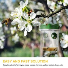 Wasp Trap Catcher Solar Powered Flying Suspension LED Plastic Bee Hornet Trap Catcher Hanging Non-toxic Insect Control Tool