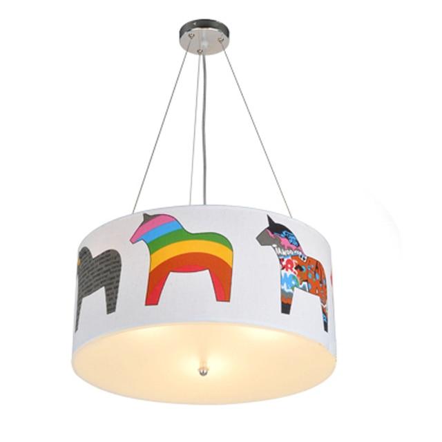 Luz colgante de dibujos animados creativos Arco Iris caballos chico lámparas colgantes niño niña sala de bebé iluminación LED hogar accesorio pantalla