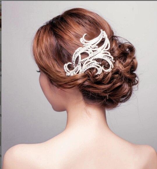 Fashion Bridal Tiara Silver Crystal Diamante Hairpins Rhinestone Flower Hair Combs for Women Wedding Hair Accessories