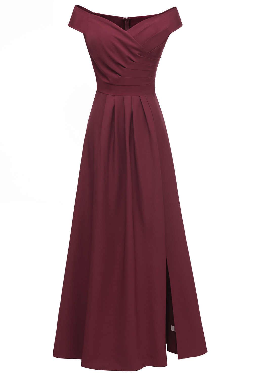 Nuevo barato fuera del hombro Borgoña vestido De noche niñas vestido para graduación De fiesta De boda vestidos De novia largos De satén slit Robe De Soiree