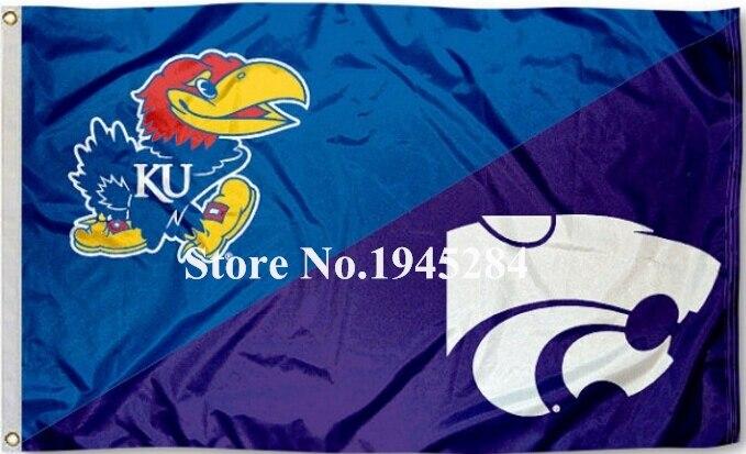 NCAA Kansas State vs. Jayhawks Maison Divisée Drapeau Bannière Nouveau 3x5FT 90x150 CM Polyester 9203, livraison gratuite