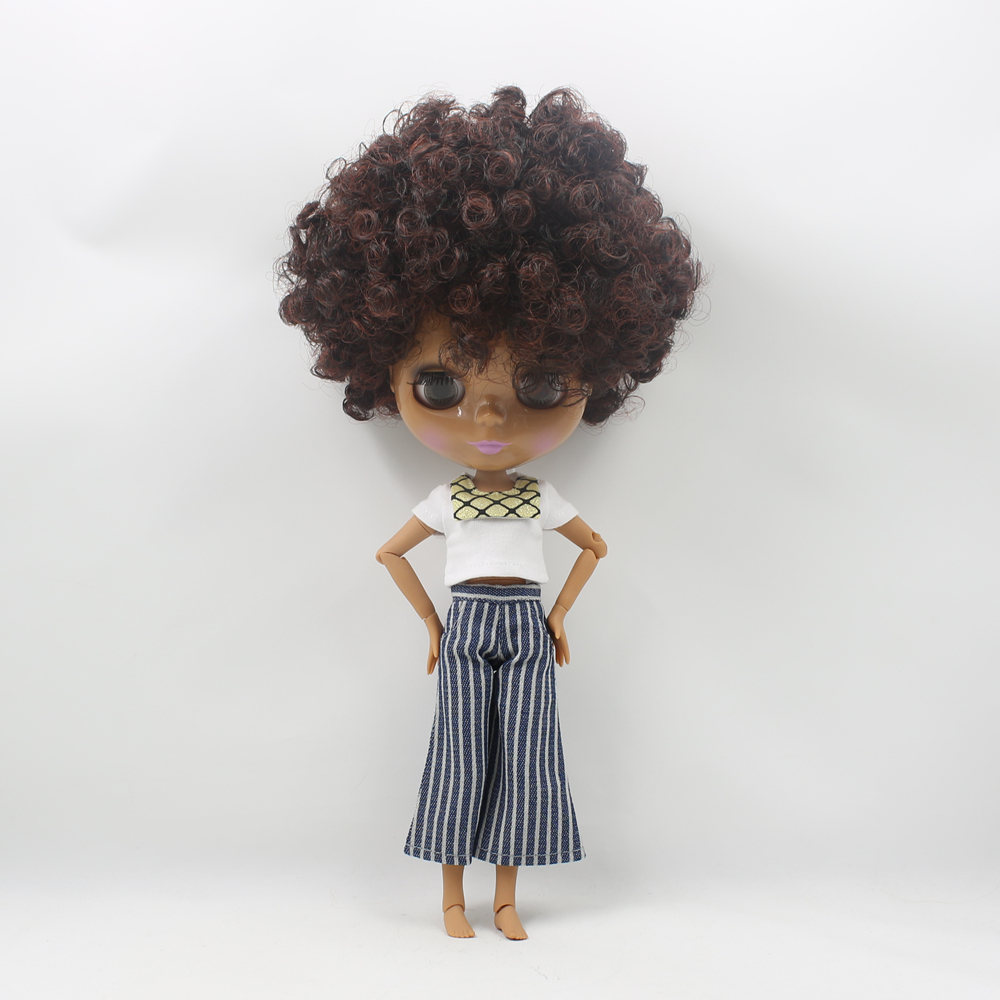 Blyth Doll Nude Doll Joint body Wild Curl Up Mixed Color Chocolate Skin Suitable DIY Makeup doll toys